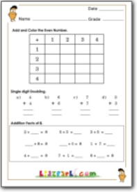 Odd or Even Number, Addition Practice for First Grade