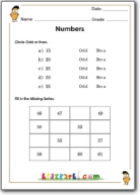 Fill in the Missing Series Math Numbers Activity Sheets